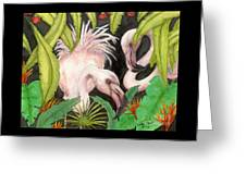 Pink Flamingos Jungle Cathy Peek Tropical Bird Art Greeting Card