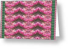 Pink Flower Petal Based Crystal Beads In Sync Wave Pattern Greeting Card