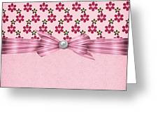 Pink Flowered Hearts  Greeting Card