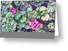Pink Flowers Painting Greeting Card