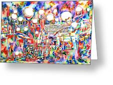 Pink Floyd Live Concert Watercolor Painting.1 Greeting Card