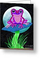 Pink Frog And Blue Moon Greeting Card