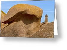 Pink Granite Lighthouse Greeting Card