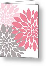 Pink Gray Peony Flowers Greeting Card