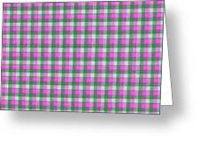 Pink Green And White Plaid Pattern Cloth Background Greeting Card