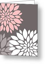Pink Grey White Peony Flowers Greeting Card