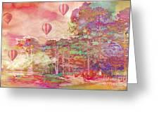 Pink Hot Air Balloons Abstract Nature Pastels - Dreamy Pastel Balloons Greeting Card