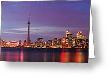 Pink Hour On Toronto Skyline Panorama Greeting Card
