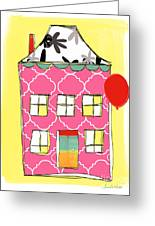 Pink House Greeting Card by Linda Woods