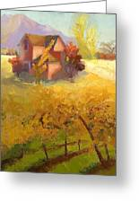 Pink House Yellow Field Greeting Card