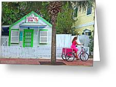 Pink Lady And The Conch Shop  Greeting Card by Rebecca Korpita