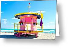 Pink Lifeguard Post Greeting Card