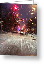 Pink Lights In Snowtrax Greeting Card
