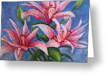 Pink Lilies Greeting Card by Terri Maddin-Miller