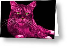 Pink Maine Coon Cat - 3926 - Bb Greeting Card