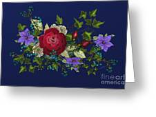 Pink Metallic Rose On Blue Greeting Card