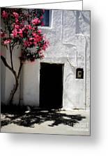 Pink Oleander By The Door Greeting Card
