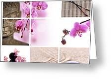 Pink Orchid And Buddha Collage Greeting Card