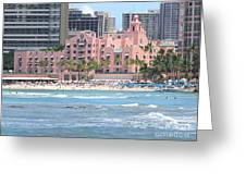 Pink Palace On Waikiki Beach Greeting Card