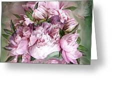 Pink Peonies Bouquet - Square Greeting Card