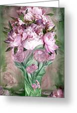 Pink Peonies In Peony Vase Greeting Card