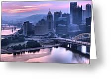 Pink Pittsburgh Morning Greeting Card