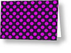 Pink Polka Dots On Black Fabric Background Greeting Card