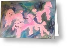 Pink Poodle Polka Greeting Card