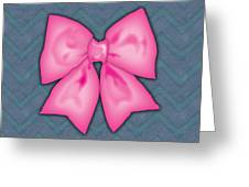 Pink Ribbon Chevron Denim Background Greeting Card