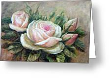 Pink Rose And Rose Buds II Greeting Card