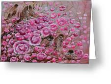 Pink Rose Birdies Greeting Card