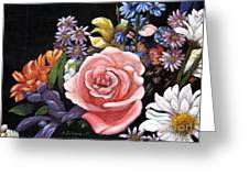 Pink Rose Floral Painting Greeting Card