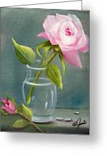 Pink Rose In Glass Greeting Card