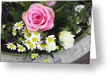 Pink Rose With Daisies Greeting Card