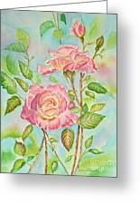 Pink Roses And Bud Greeting Card