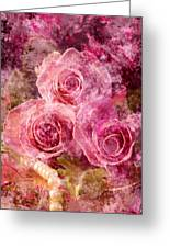 Pink Roses And Pearls Greeting Card