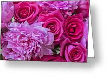 Pink Roses And Peonies Please Greeting Card