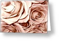 Pink Roses Bouquet Sketchbook Effect Greeting Card