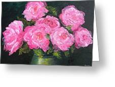 Pink Roses In A Brass Vase Greeting Card