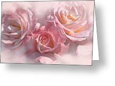 Pink Roses In The Mist Greeting Card