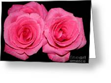 Pink Roses With Brush Stroke Effects Greeting Card