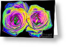 Pink Roses With Colored Foil Effects Greeting Card