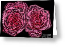 Pink Roses With Dark And Rough Chrome  Effects Greeting Card