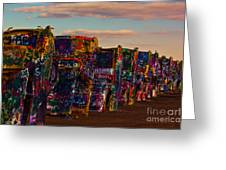 Pink Sky At Cadillac Ranch Greeting Card