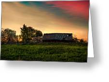 Pink Sunrise. Old Barn An Cherry Blossom Greeting Card