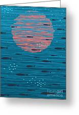 Pink Sunset And Fish Underwater Cartoon Greeting Card