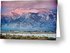 Pink Sunset On Taos Mountain Greeting Card