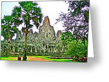 Pink Tower In The Bayon In Angkor Thom In Angkor Wat Archeological Park Near Siem Reap-cambodia Greeting Card