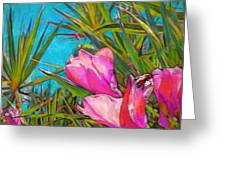Pink Tropical Flower With Honeybee - Horizontal Greeting Card