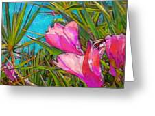 Pink Tropical Flower With Honeybee - Square Greeting Card